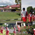Cegah penyebaran dan penularan Civid 19, Polres Boalemo Laksanakan Olahraga dan Bersih Bersih lingkungan Mako.